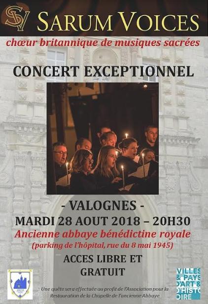 Mardi 28 Août 2018 – concert de Sarum Voices à la chapelle